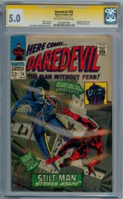 Daredevil # 26 CGC 5.0 Signature Series Signed Stan Lee  Silver Age Marvel comic